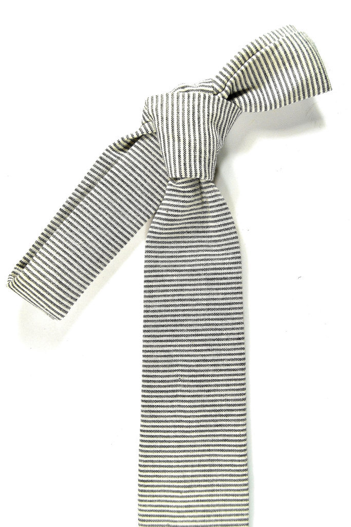 Wedding Mens Skinny Necktie- striped black  ivory Chambray- Laid-Back necktie image 3