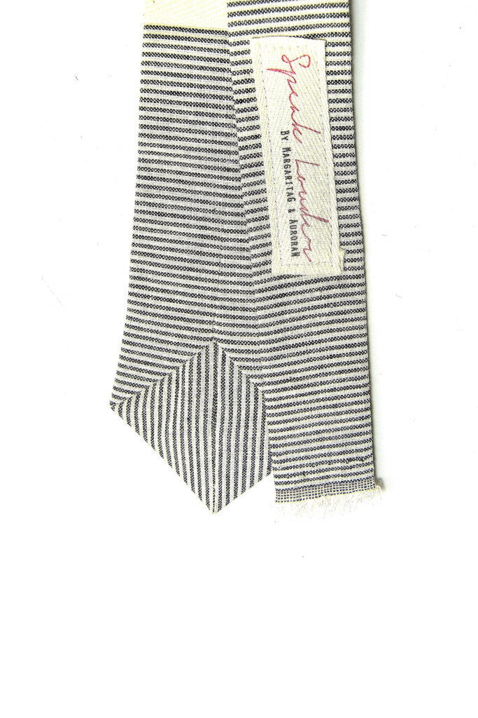 Wedding Mens Skinny Necktie- striped black  ivory Chambray- Laid-Back necktie image 4