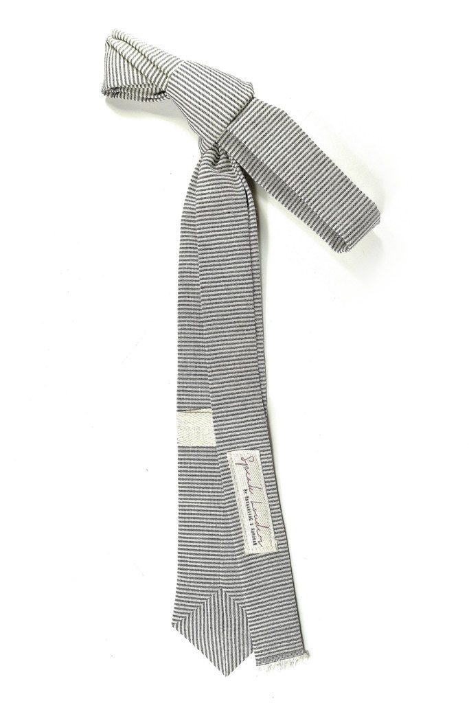 Wedding Mens Skinny Necktie- striped black  ivory Chambray- Laid-Back necktie image 5