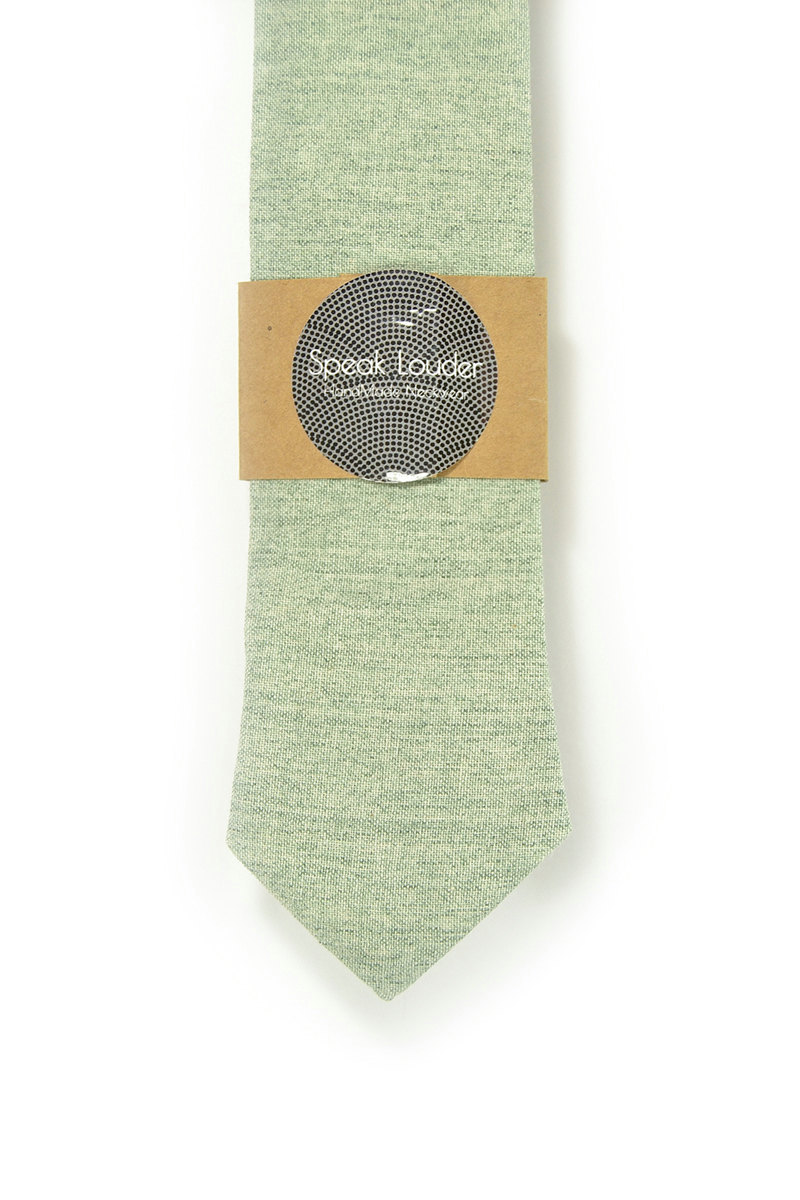Green Wedding Mens Tie Skinny Necktie  green Japanese fabric image 2