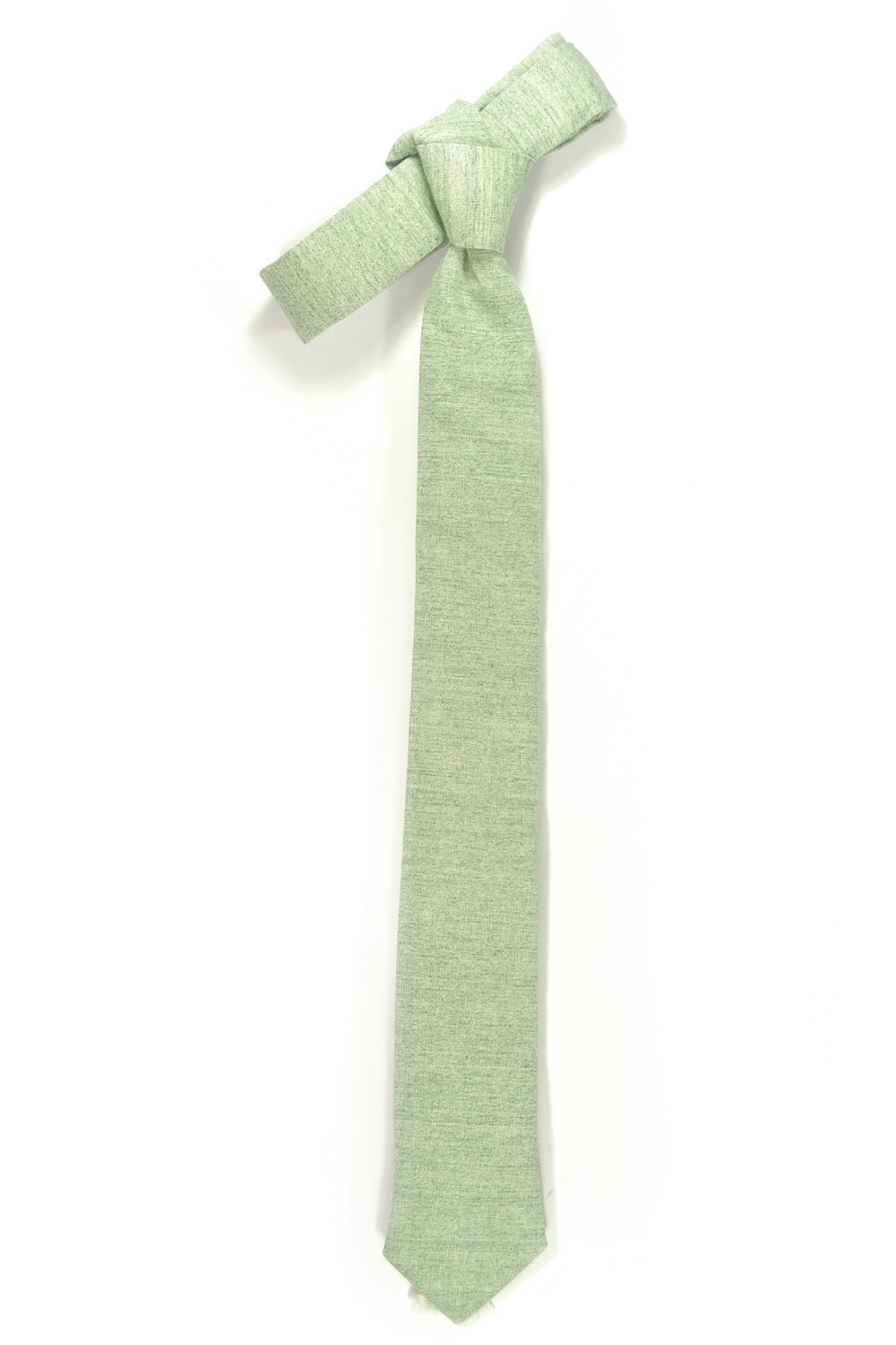 Green Wedding Mens Tie Skinny Necktie  green Japanese fabric image 4