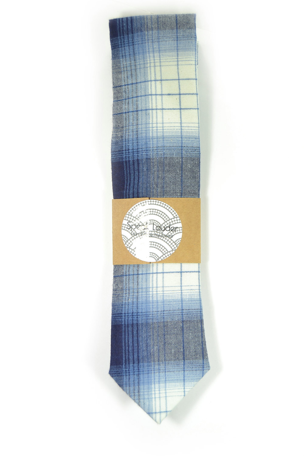 Primary image for Wedding Mens Skinny Necktie blue and white plaid -Laid - Back necktie