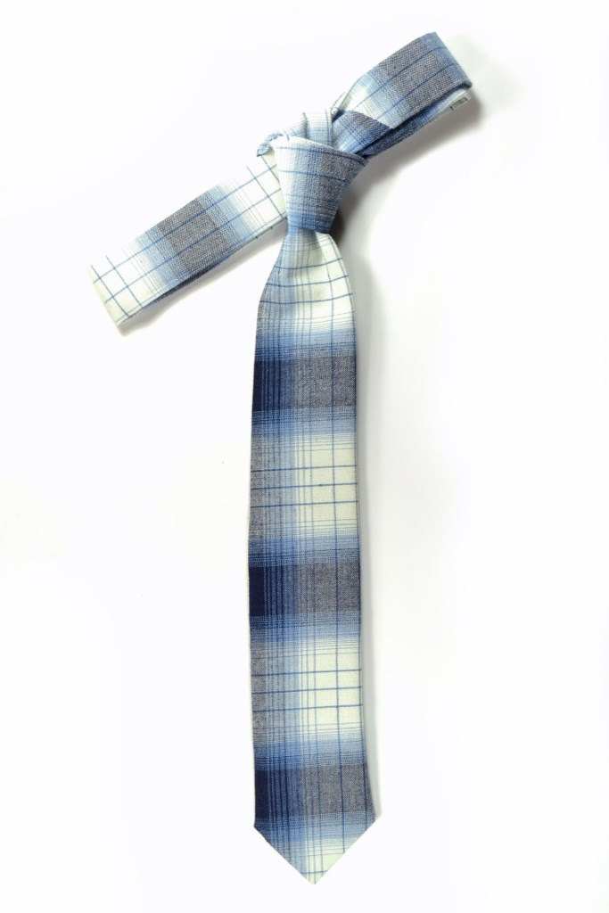 Wedding Mens Skinny Necktie blue and white plaid -Laid - Back necktie image 2