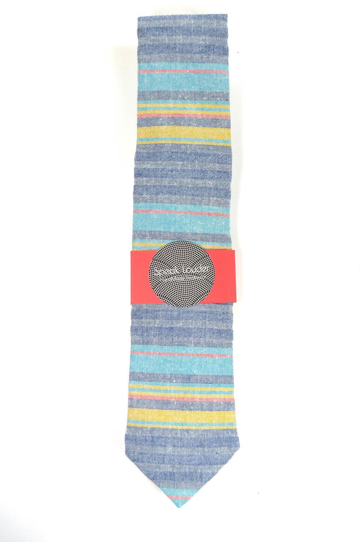 Wedding Mens Skinny Necktie  blue, purple, yellow striped chambray-Laid - Back n