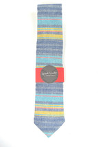 Wedding Mens Skinny Necktie  blue, purple, yellow striped chambray-Laid ... - $60.00