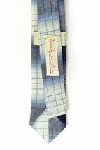 Wedding Mens Skinny Necktie blue and white plaid -Laid - Back necktie image 3