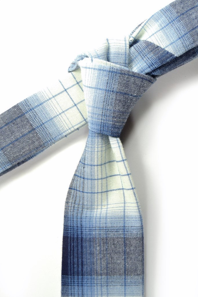 Wedding Mens Skinny Necktie blue and white plaid -Laid - Back necktie image 4