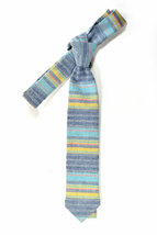 Wedding Mens Skinny Necktie  blue, purple, yellow striped chambray-Laid - Back n image 2