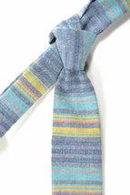 Wedding Mens Skinny Necktie  blue, purple, yellow striped chambray-Laid - Back n image 3