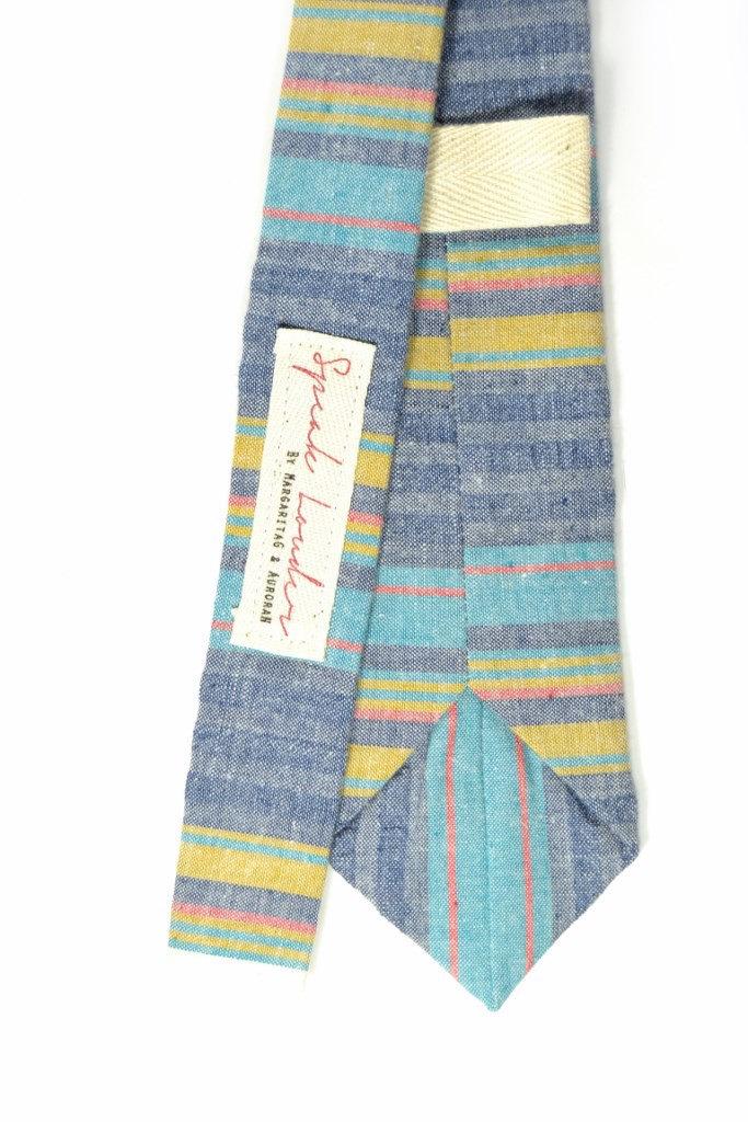Wedding Mens Skinny Necktie  blue, purple, yellow striped chambray-Laid - Back n image 4