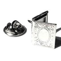 Silver Locket Accessory, Men's Tie Tack / Unise... - $13.99