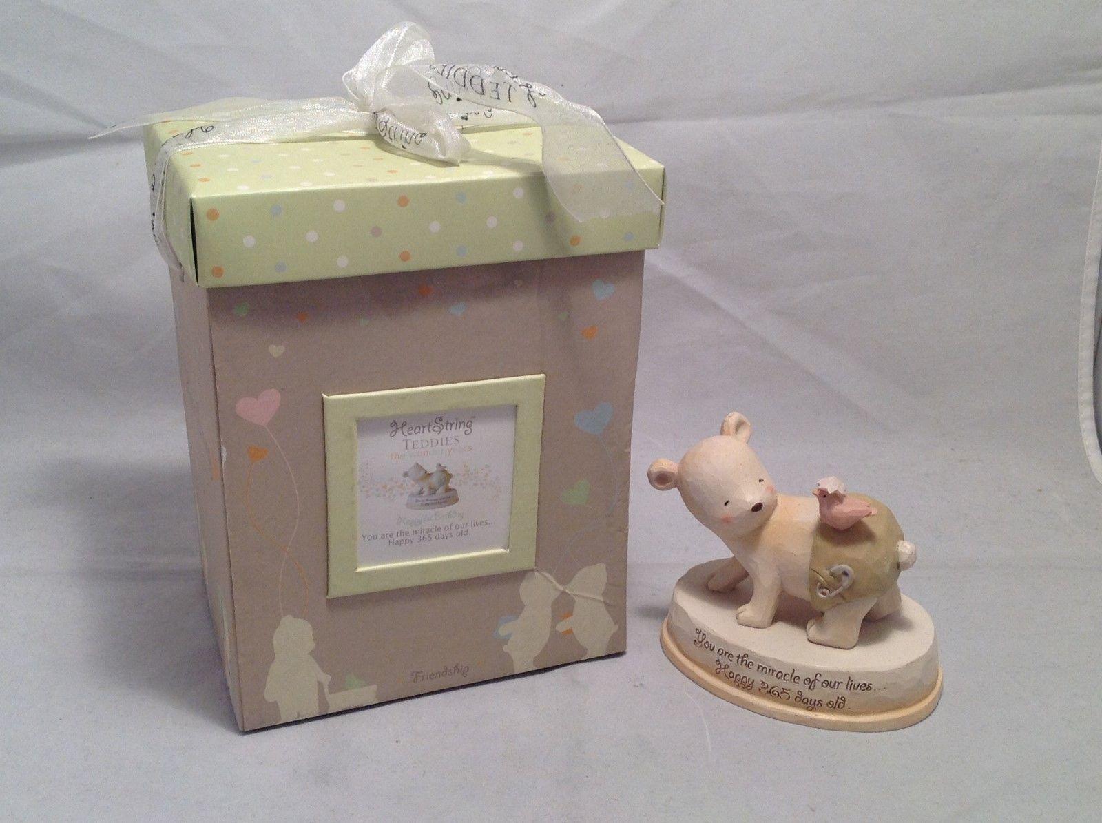 New In Box Heartstring Teddies Happy First Birthday Figurine