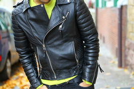 Men Black Handmade Diamond Quilted Genuine Real Leather Jacket shoulder epaulets - $179.99