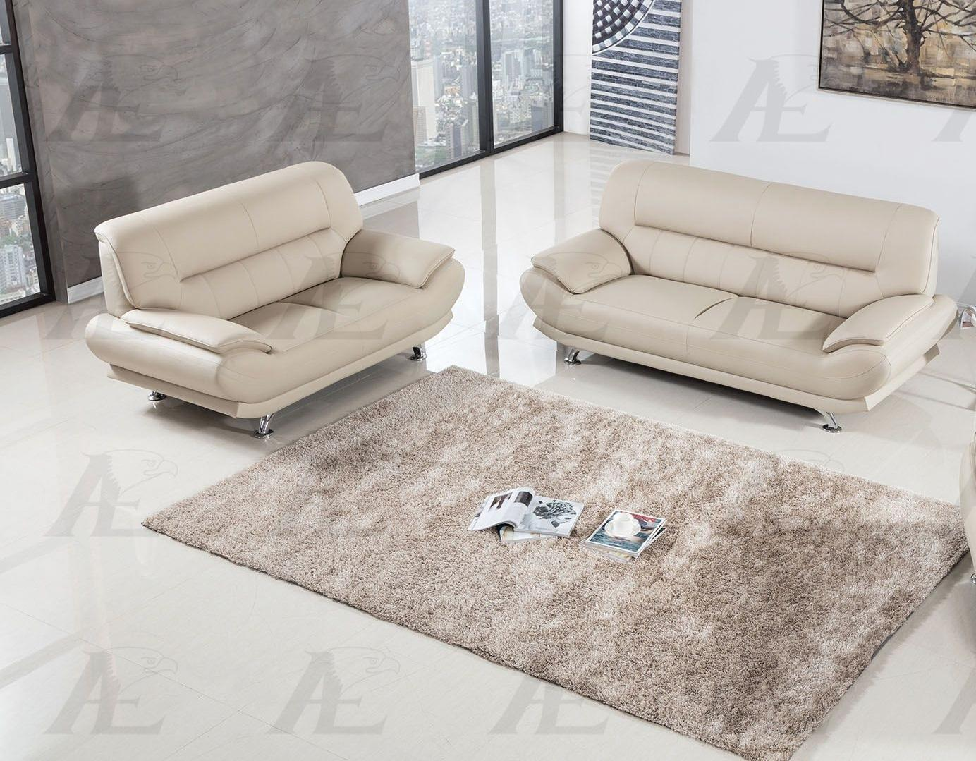 American Eagle AE-709 Cream Faux Leather Sofa Set 2pcs in Contemporary Style