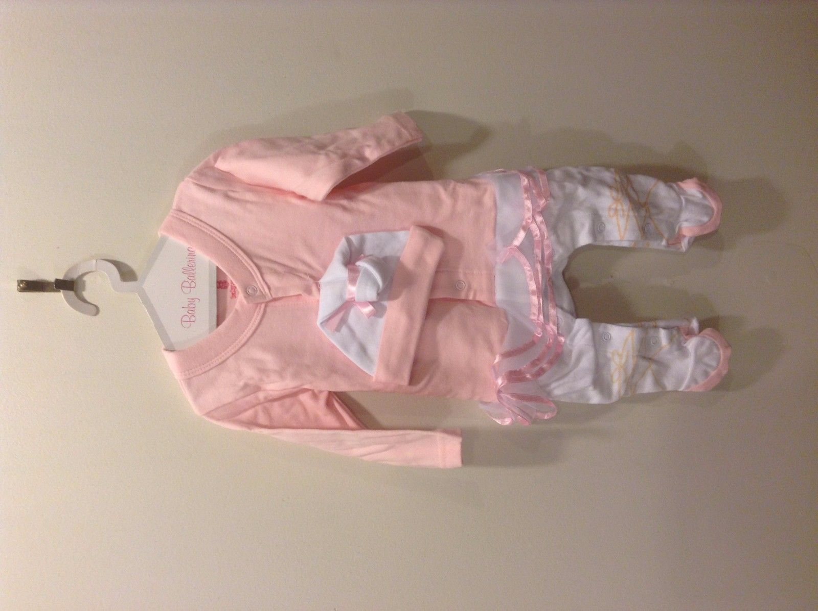 Big Dreamz Baby Ballerina Layette Set Body Suit Pink 100% Cotton Cap 0-6 months