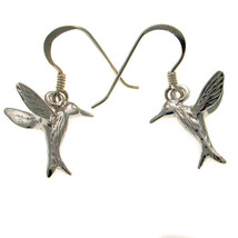 Sterling 925 British Silver Pair of Flying Hovering Bird Earrings Pierced Ears - $22.37