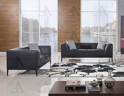 American Eagle AE-D820 Black Faux 2pcs Living Room Leather Sofa Set Modern Style