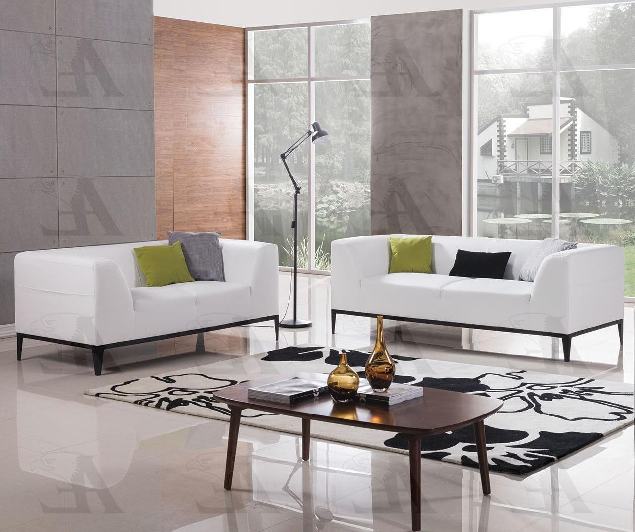 American Eagle AE-D820 White Faux Leather Modern Style Living Room Sofa Set 2pcs