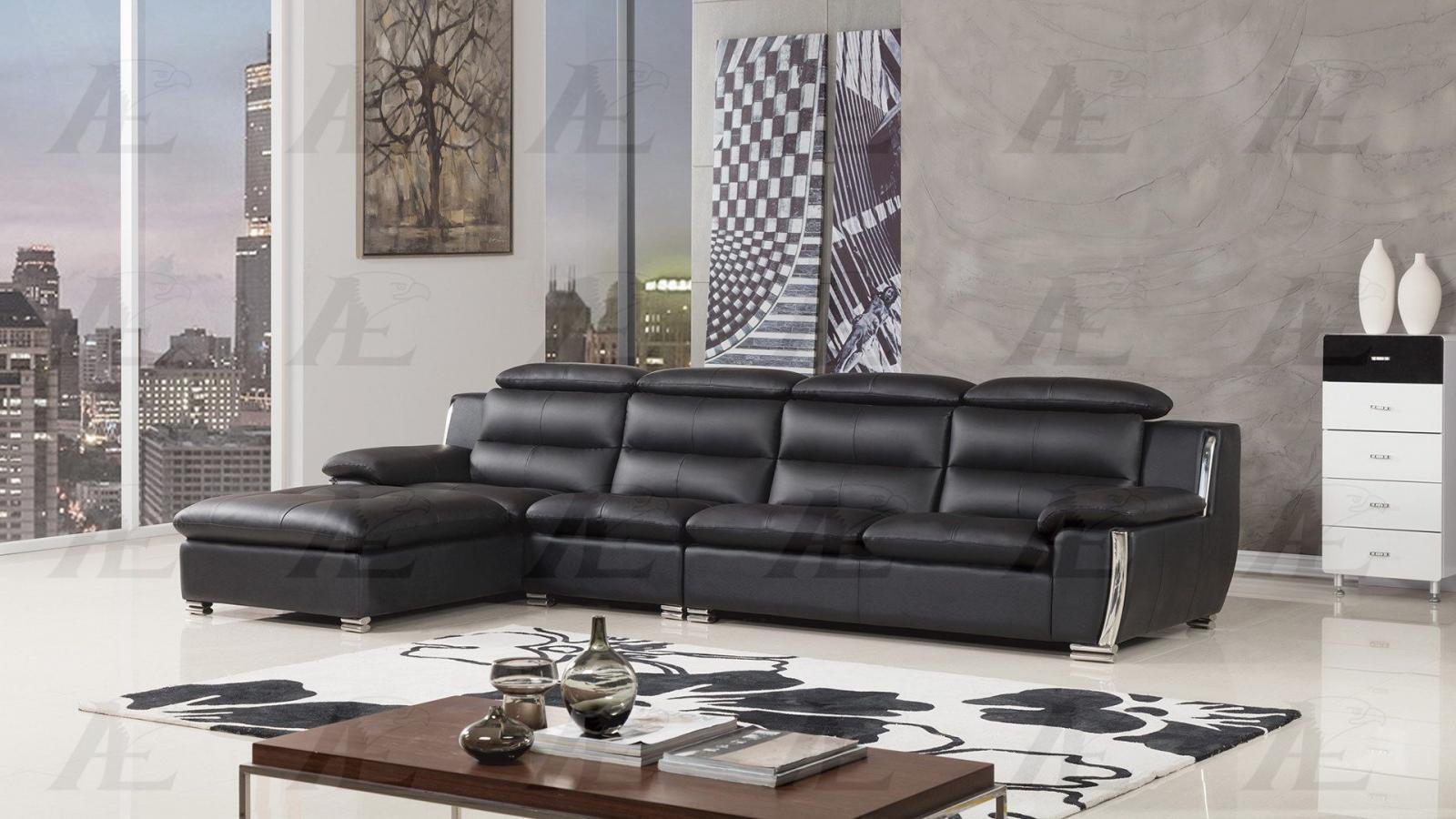 American Eagle AE-L729 Black Modern Faux Leather Sofa Set w Right Hand Chase 3pc