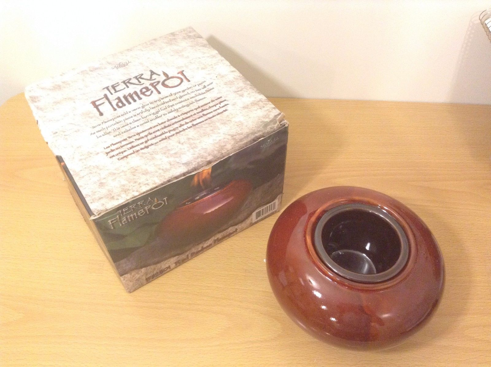 Terra Flamepot Red Bamboo Handcrafted Porcelain New Fuel Gel