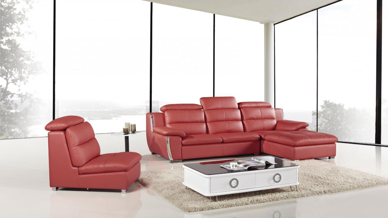 American Eagle AE-L729 Modern Red Faux Leather Sofa Set w Left Hand Chase 3pc