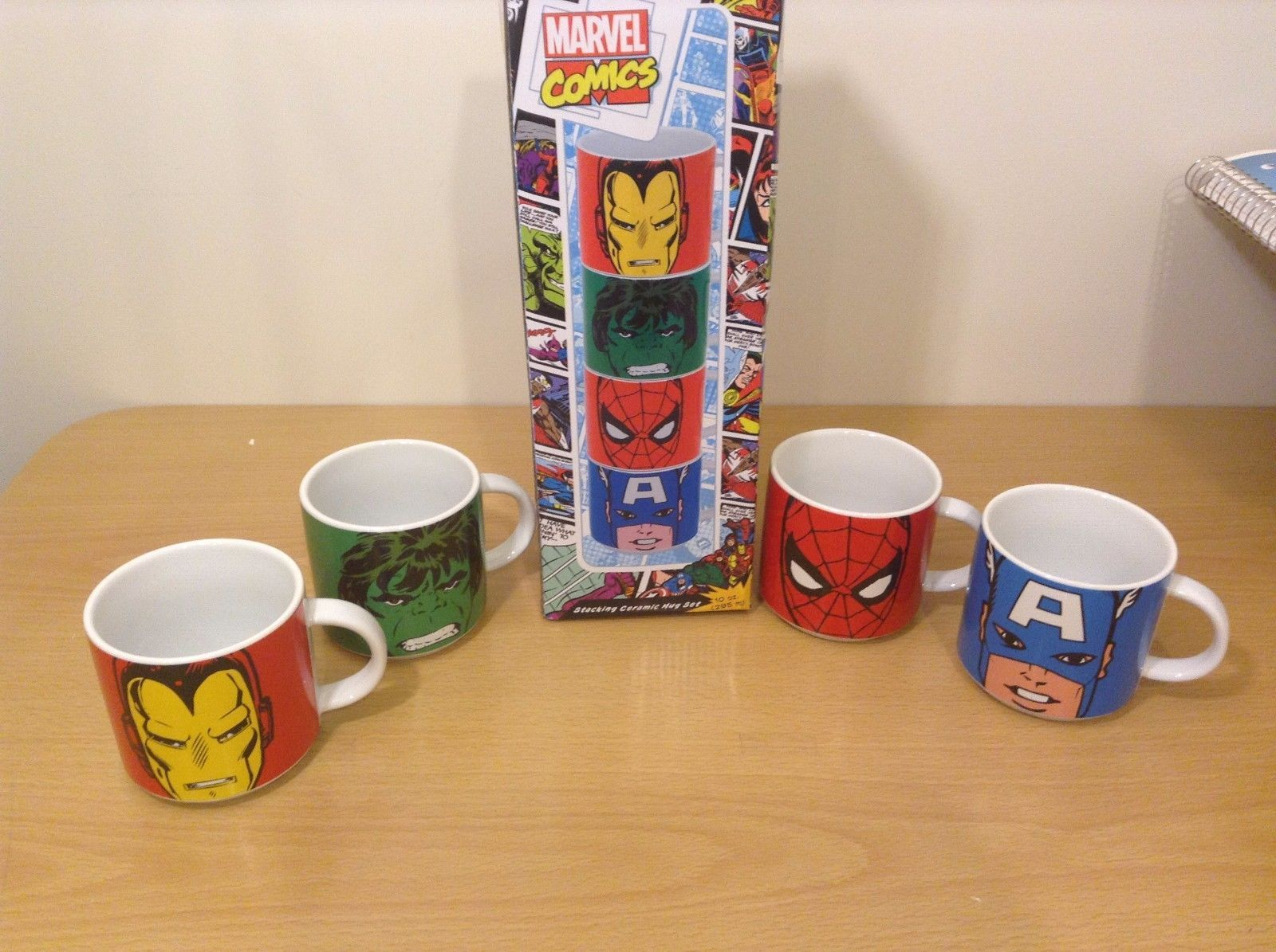 Marvel 4 Piece Stacking Ceramic Mug Set Iron Man Hulk Spiderman Captain America