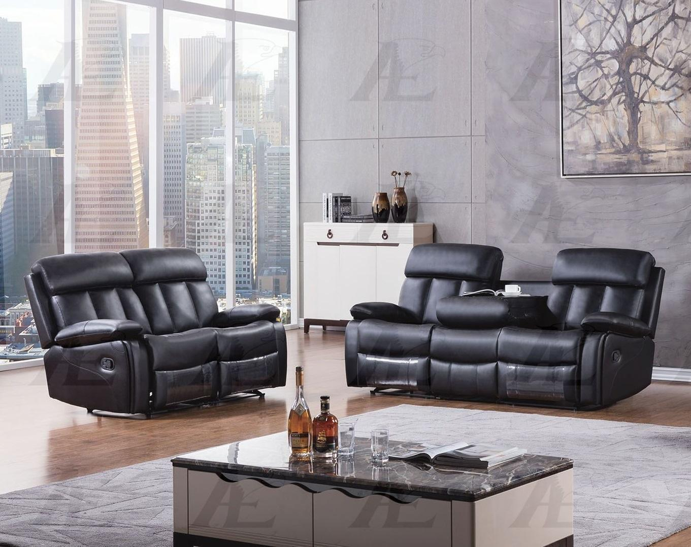 American Eagle AE-D825 Contemporary Black Faux Leather Recliner Sofa Set in 2pcs