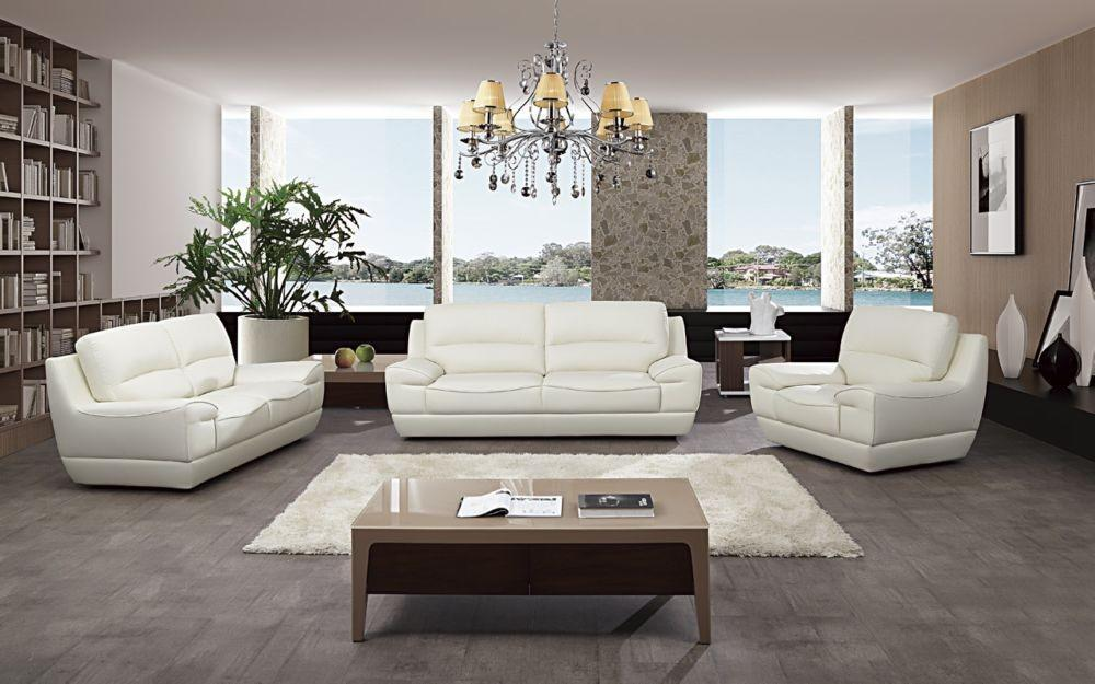 American Eagle EK018 White Italian Leather Sofa Set 3pcs in Modern Style