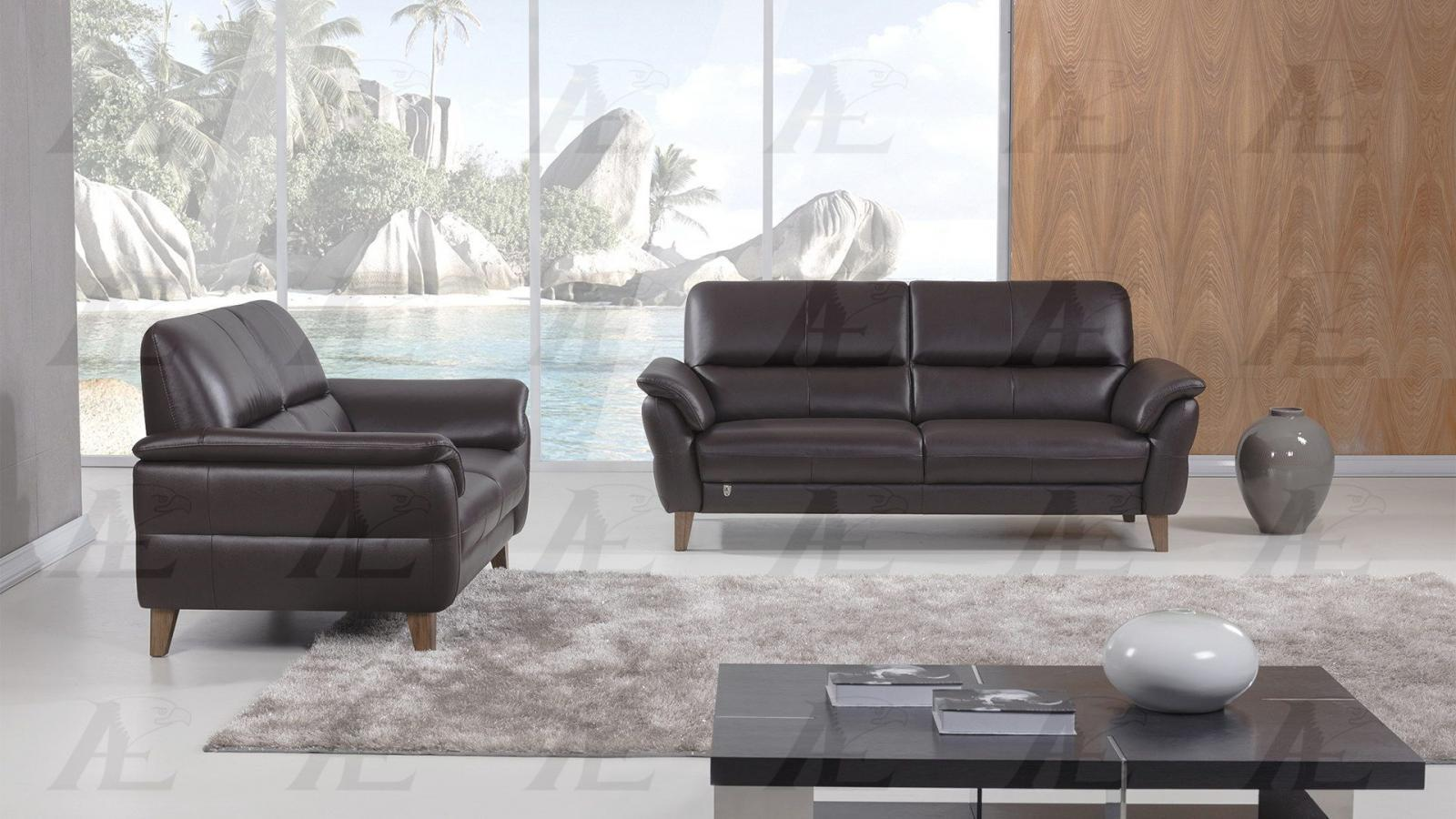 American Eagle EK073 Contemporary Dark Chocolate Italian Leather Sofa Set 2pcs