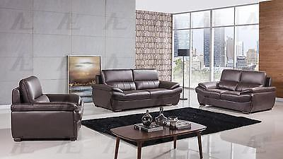 American Eagle EK-B305 Contemporary Genuine Leather Dark Chocolate Sofa Set 3pcs