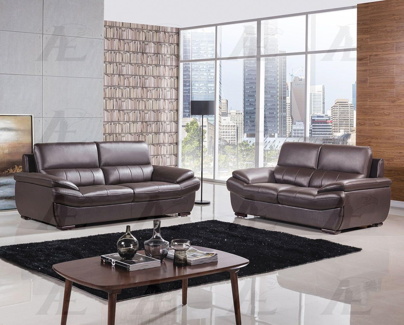 American Eagle EK-B305 Contemporary Genuine Leather Dark Chocolate Sofa Set 2pcs