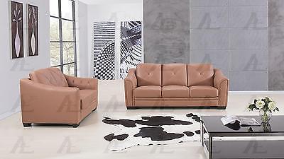 American Eagle EK519 Contemporary Dark Tan Genuine Leather Sofa Set 2pcs