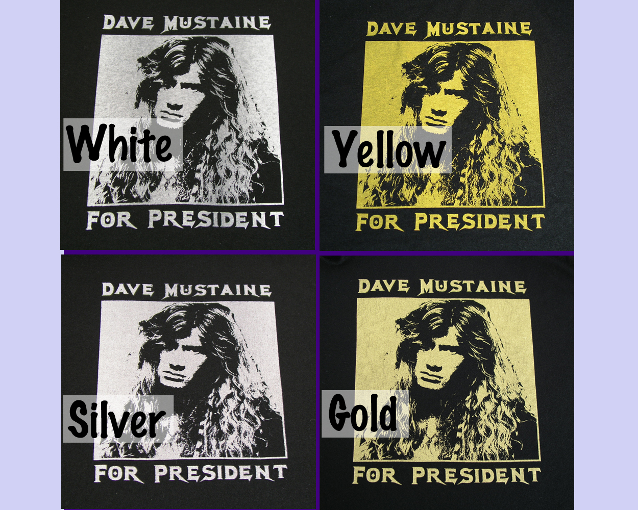 XS-XL Women's Dave Mustaine For President T-Shirt classic fit black brown A880