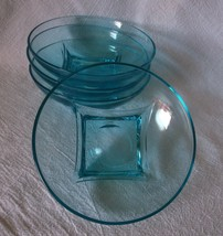 Hazel Atlas Capri Colony Bowls Azure BLUE Aqua Square Vintage SET Cereal... - $44.98