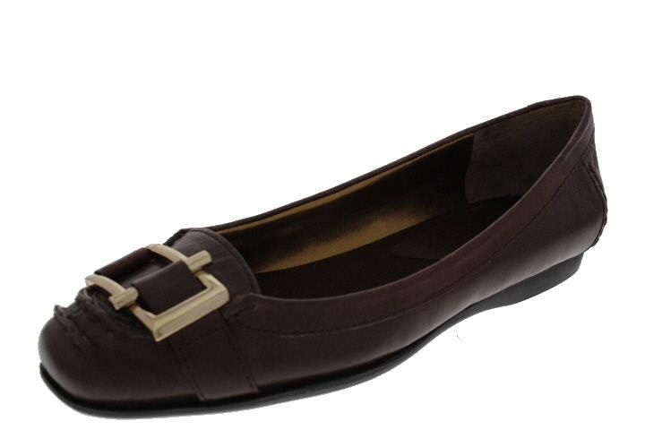 Nine West New Kadie Brown Leather Embellished Loafer Shoes Medium ( B,M )  9