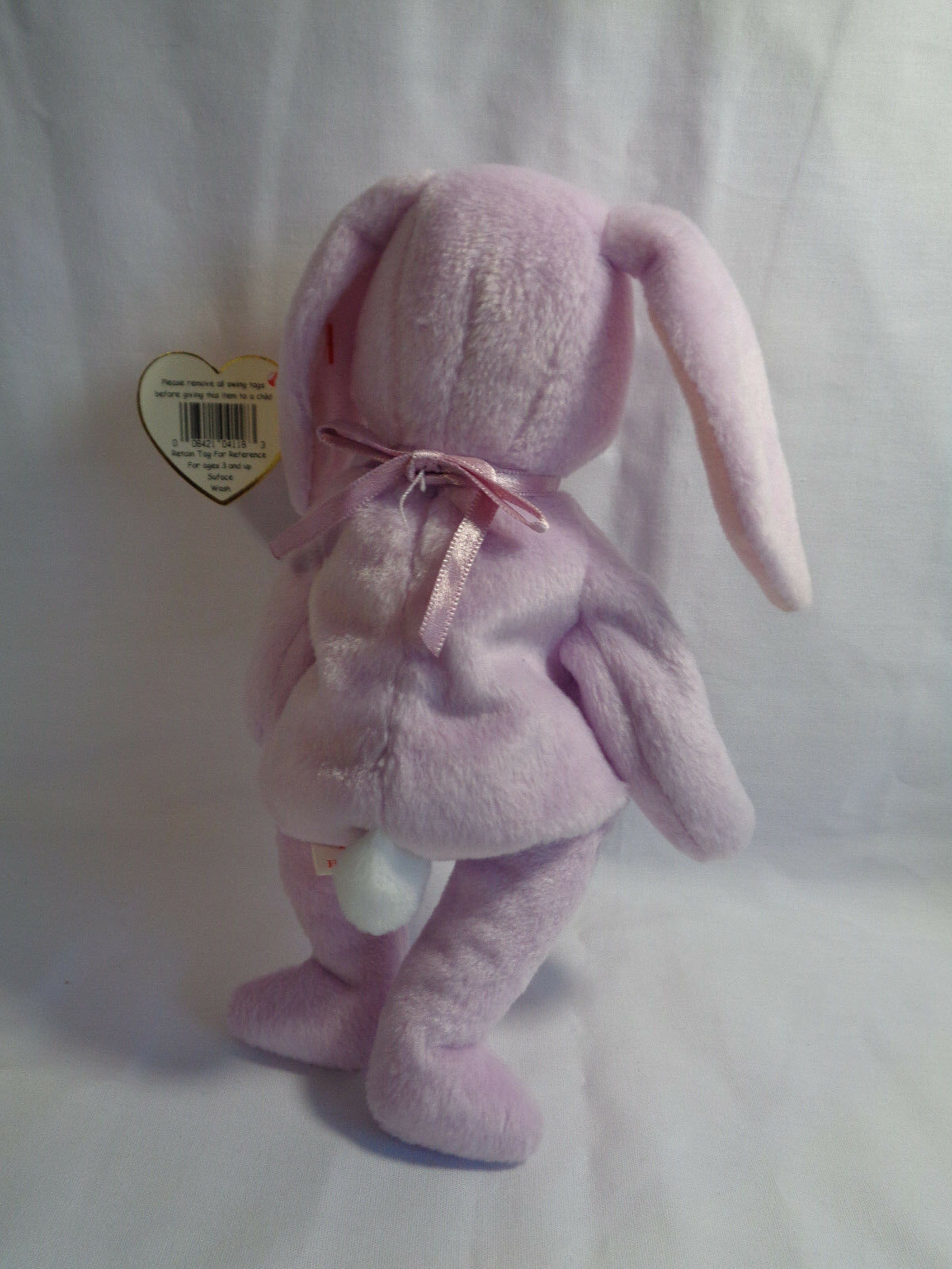 """TY Beanie Babies 1996 Lavender Bunny Floppity 8"""" w/ Hang Tag 5/23/96 image 4"""