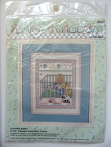 Baby Playpen Bunny New Stamped Counted Cross Stitch Kit 8x10 Bucilla Crib - $17.09