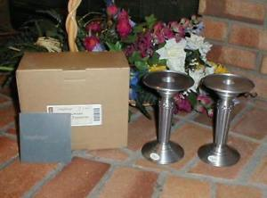 Longaberger Candlestick Holders Pedestals Set 2 Wedding New Quality Pewter