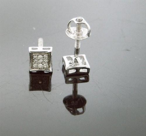 Unisex 925 Silver 0.10ct Genuine Diamonds Earrings