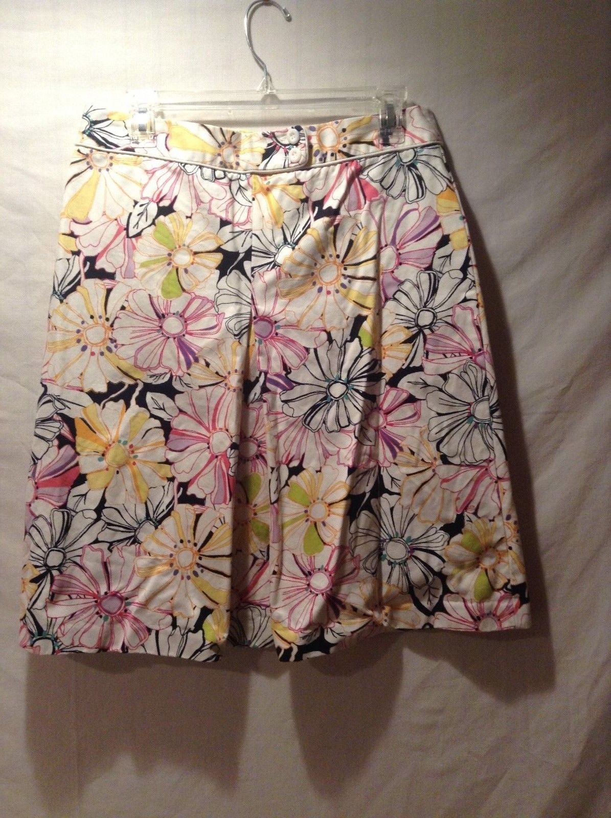 Lands' End 100% Cotton Floral Patterned Skirt Size 10