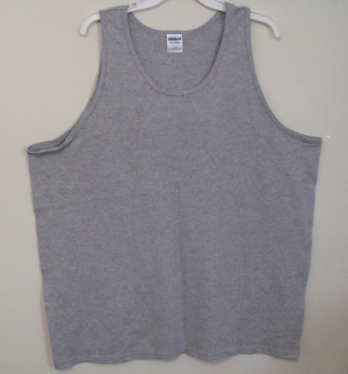 Mens gildan gray tank top front 2xl