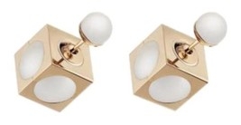 Authentic NEW Dior White Pearl Gold Cube Tribal Double Jacket Earrings