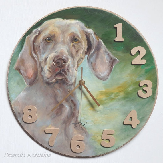 CUSTOM PAINTED CLOCK, Hand made Wall Clock, Dog portrait, Pet portrait, Round