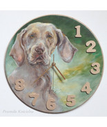 CUSTOM PAINTED CLOCK, Hand made Wall Clock, Dog portrait, Pet portrait, ... - $60.00