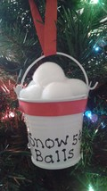 Handmade Snow Balls 5 Cents Mini Metal Pail Christmas Ornaments With Red... - $5.00