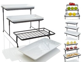iEnjoyware 3 Tiered Porcelain Serving Platters/Trays with Mesh Swivel Wi... - £33.31 GBP