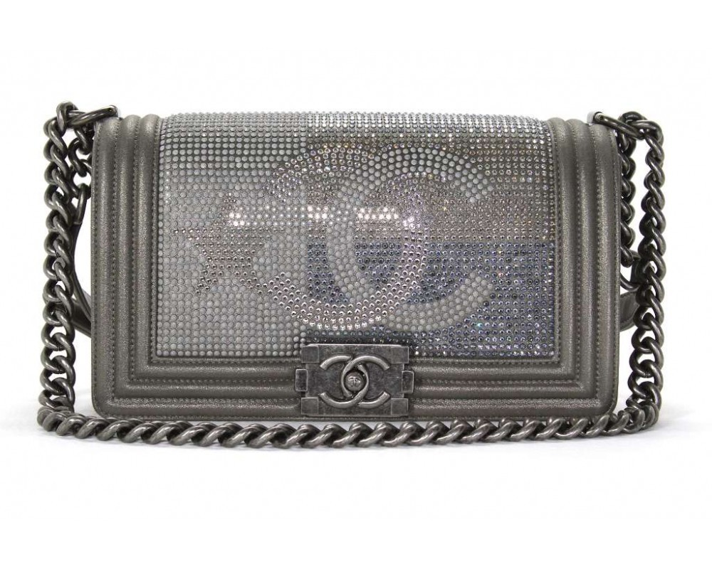 AUTHENTIC CHANEL PARIS DALLAS COLLECTION STRASS METALIZED CC BOY FLAP BAG