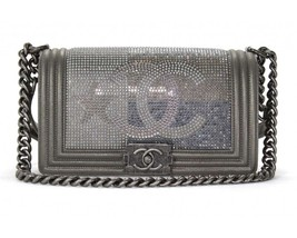 AUTHENTIC CHANEL PARIS DALLAS COLLECTION STRASS METALIZED CC BOY FLAP BAG - $5,799.99