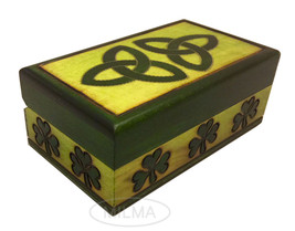 Celtic Trinity Knot Jewelry Keepsake Box Polish Handmade Wood Small Celtic Box - $19.79