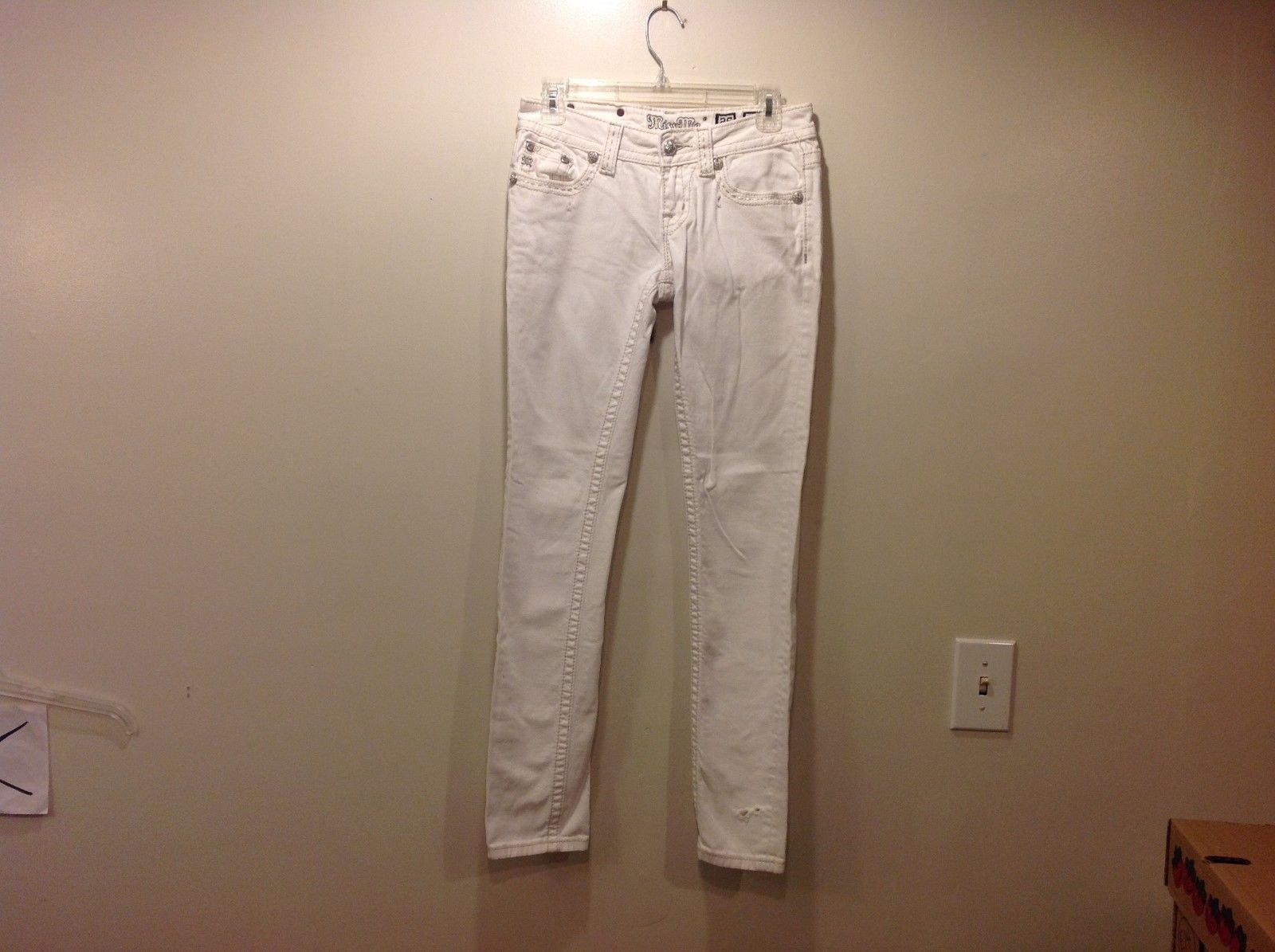 Miss Me Clean White Rockstar Rhinestone Studded Skinny Jeans Sz 26
